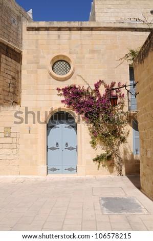 Large bougainvillea tree growing by doorway in the village of Mdina, Malta. - stock photo
