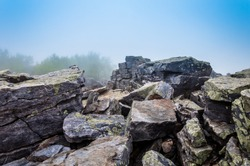 Large boulders in fog on Blackrock Summit, in Shenandoah National Park, Virginia.