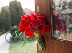 large bouquet of red tulips on the handle of the front door. Surprise, a pleasant unexpected gift, a sign of attention, gratitude. In the background a bicycle in defocus. Sunny spring holiday