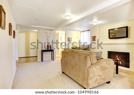 Large bright living room with fireplace and TV. - stock photo