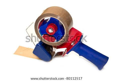 Large brown tape on white background