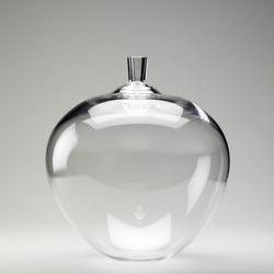 large bulbous clear glass vessel vase ob white