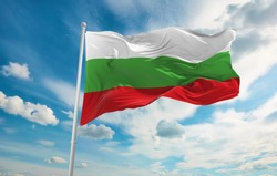 Large Bulgaria flag waving in the wind