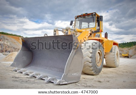Large bulldozer at construction site - stock photo