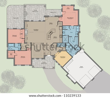 large bungalow floor plan colored with landscape stock