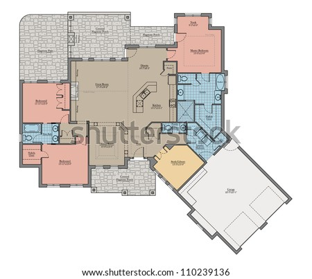 Large Bungalow Floor Plan Colored With Room Names Stock Photo ...