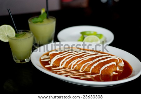 Large Burrito with Sauce and Fixings