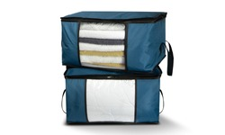 Large Capacity Clothes Storage Bag Organizer with Reinforced Handle Thick Fabric for Comforters, Blankets, Bedding, Foldable with Sturdy Zipper, Clear Window