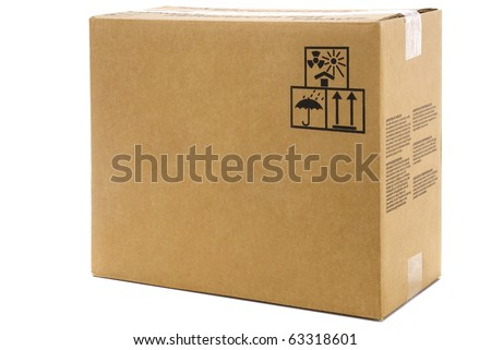 large cardboard box isolated on white background