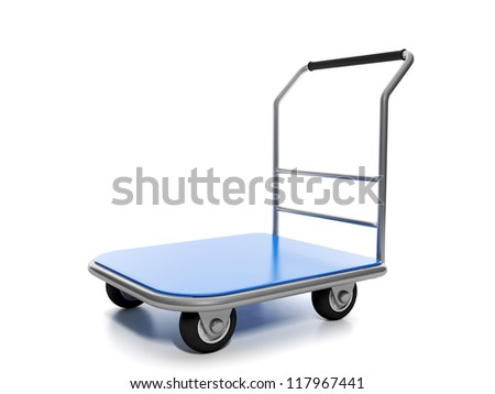 Large cargo truck on a white background - stock photo