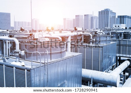 large central air conditioning system cooling fan system pipeline Stock photo ©
