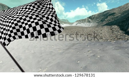 Large Checkered Flag with fabric surface texture with landscape background