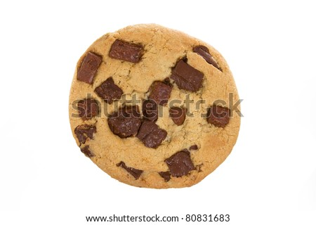 Large Chocolate Chip Cookie Isolated on a White Background