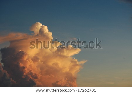 Large cloud at sunset