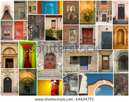 large collage of different doors and gates from all over the Europe