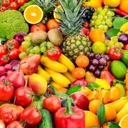 Large collection fruits and vegetables. Healthy foods. Top view