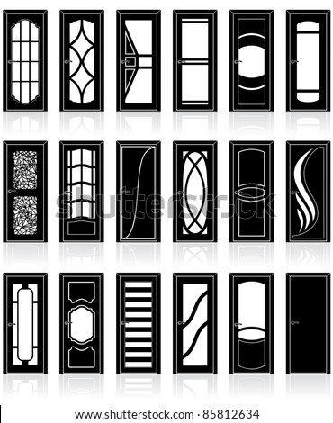 Large Collection of classic interior and front doors silhouettes, detailed clip art of decor