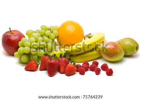 Large collection of different fruits over white background