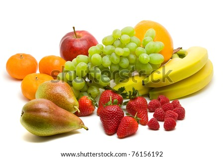 Large collection of different fruits over white background - stock photo