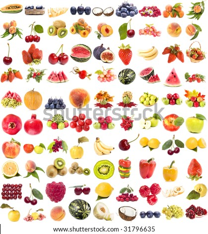 large collection of fresh ripe fruits and berries single objects isolated on white background