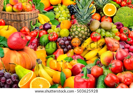 Large collection of fruits and vegetables. Healthy foods. - Shutterstock ID 503625928