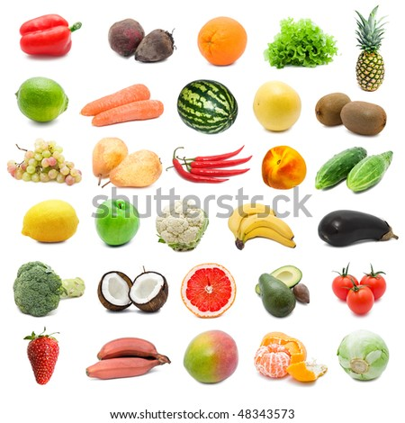 Large collection of fruits and vegetables isolated on white background, high resolution