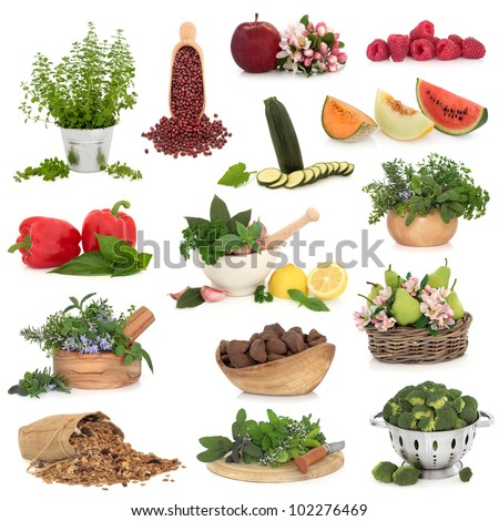 Large collection of healthy food high in antioxidants and vitamins isolated over white background.