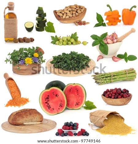 Large collection of healthy food items isolated over white background. High in antioxidants.