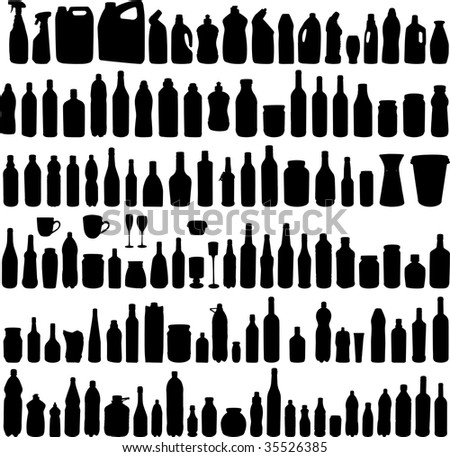 Large collection of illustration of the different bottles silhouettes