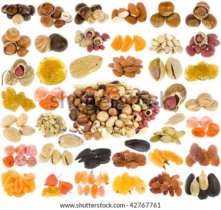 large collection of nuts, seeds and dried fruits isolated on a white background