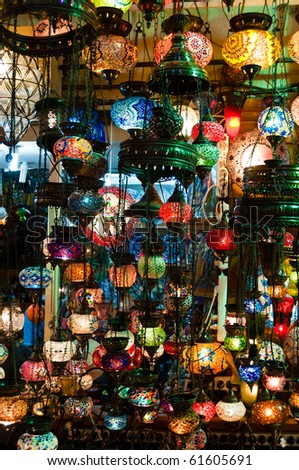 Large collection of typical Tuskish Lanterns on sale in the Grand Bazaar of Istanbul, Turkey