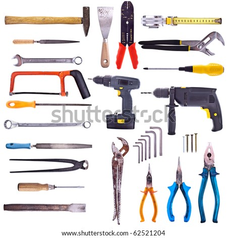Large Collection Of Used Tools - Completely Isolated On White, Very High Detail.