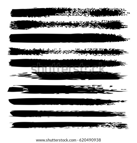 Large collection or set of artistic black paint hand made creative brush strokes isolated on white background #620490938