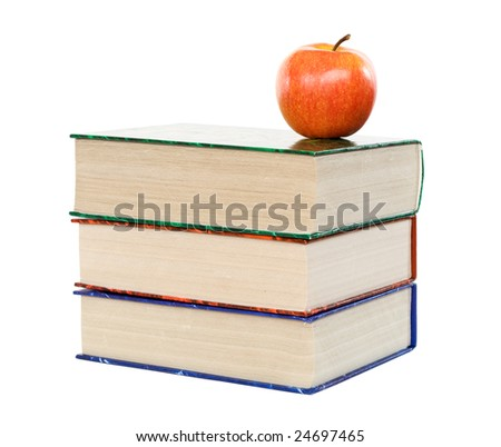 Large colorful books and apple - isolated