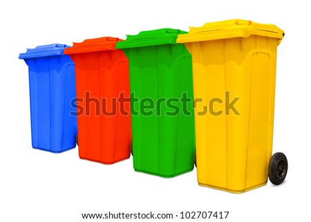 Large colorful trash cans (garbage bins) with wheel collection