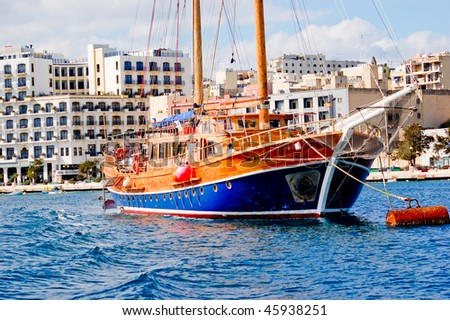 Large colourful sailing ship in Malta on a sunny day