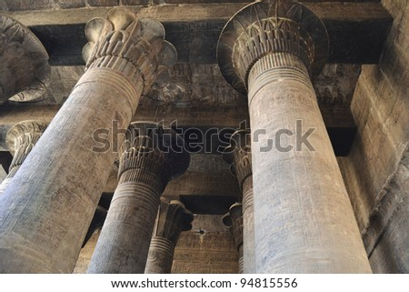 Large columns at an ancient egyptian temple in Luxor