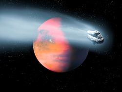 large comet flies against the background of an alien planet. Danger of collision with asteroid, space landscape.
