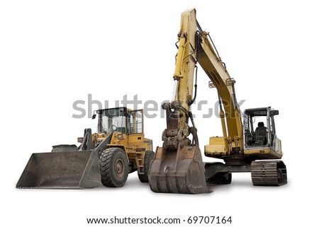 Large Construction Excavation Machinery isolated on white - stock photo