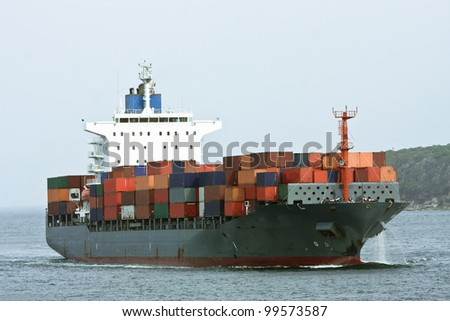 Large container cargo ship sea.