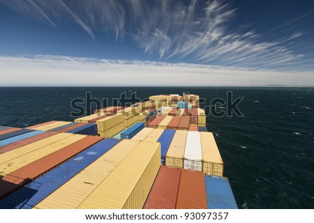 large container vessel ship and land on the far horizon