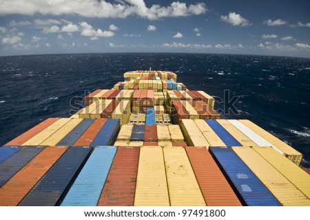 large container vessel ship and the horizon