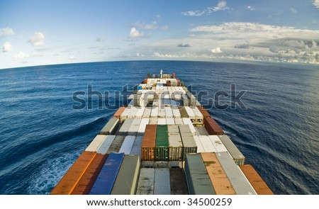 large container vessel ship and the horizon, no logos in this picture