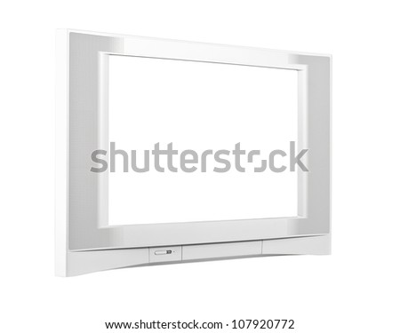 Large contemporary silver television isolated with clipping path.
