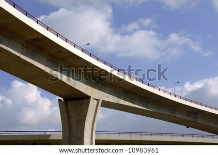 Large crossing traffic highway viaducts against the sky