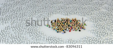 Large crowd of small symbolic 3d figures, over white