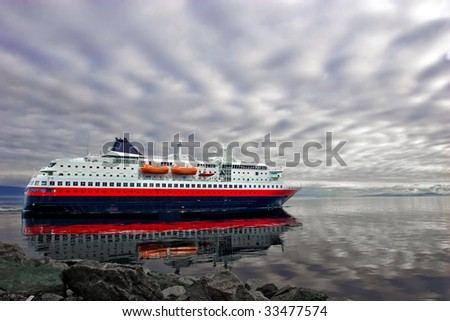Large cruise ship leaving for voyage, Norway