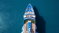 Large Cruise ship sailing across The Mediterranean sea - Aerial image