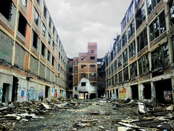Large crumbling abandoned factory in Detroit, Michigan