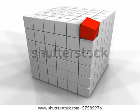 Large cube made of small white cubes and one different red